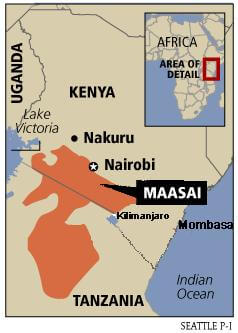 The Maasai tribe on the map
