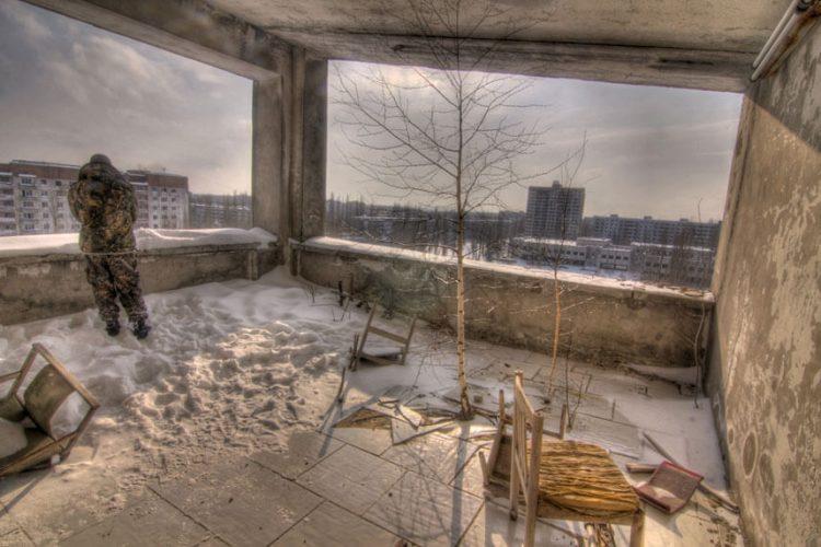 Вид на Припять с отеля, Украина