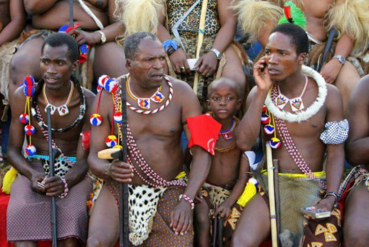 The Zulu people using mobile phone