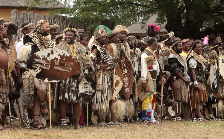 The Zulu people dressed in national costumes