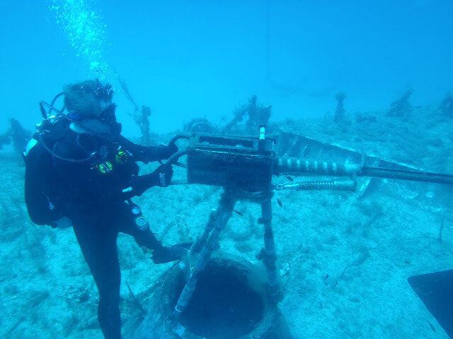 Пулемет на дне океана