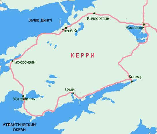 Кольцо Керри на карте
