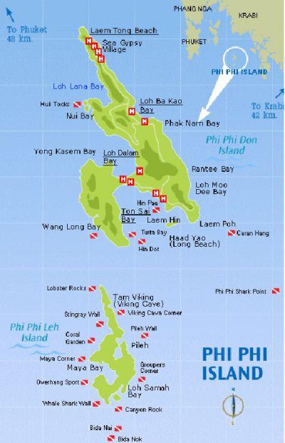 Острова Пхи-Пхи на карте мира