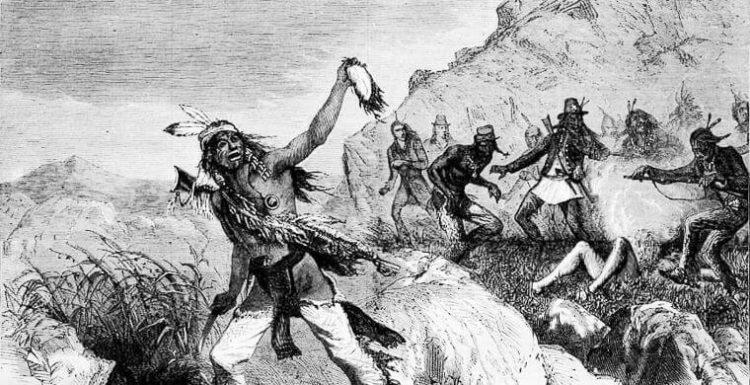 Индейцы Апачи снимают скальп с врага