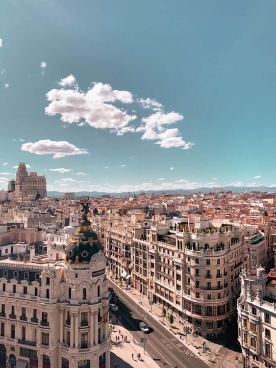 Gran Via from above, Madrid, Spain