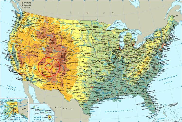 Долина Монументов на карте США.