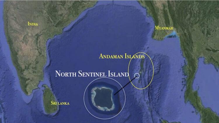 Остров северный сентонел на карте
