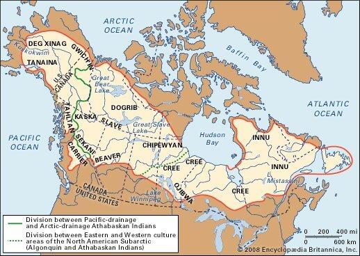 Карта Индейские племена в Субарктической зона (север США и Канады)