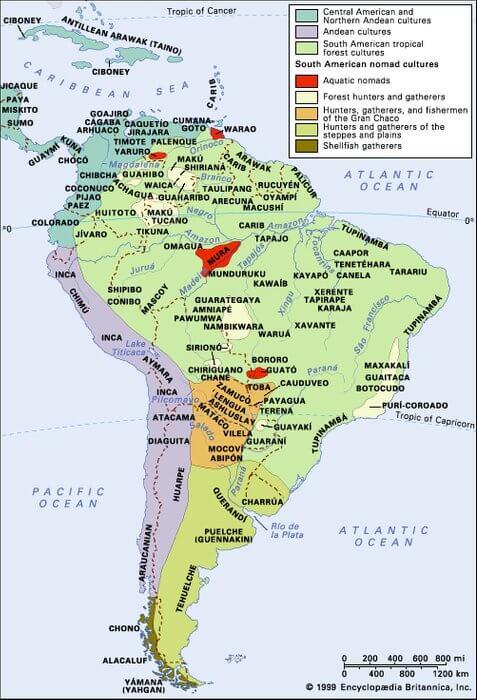Племена индейцев Южной Америки карта