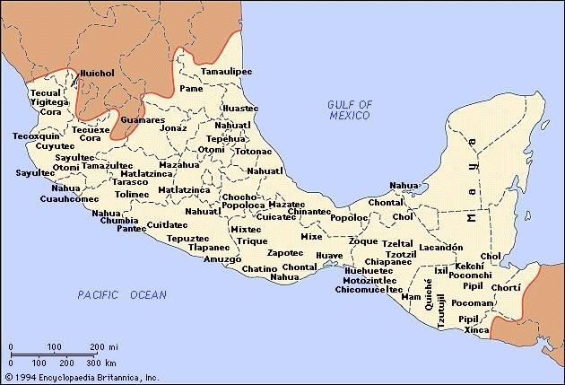 Карта Индейские племена в Центральной Америке (Мексика, Панама, Гондурас, Коста Рика, Никарагуа и др.):