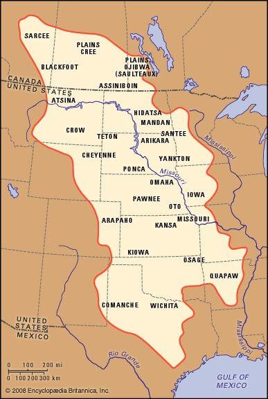 Карта Индейские племена в Великих равнинах США