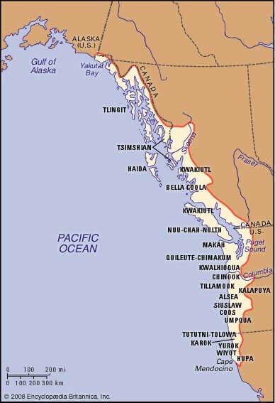 Карта Индейские племена в Северо-западном побережье (Аляска и Калифорния)