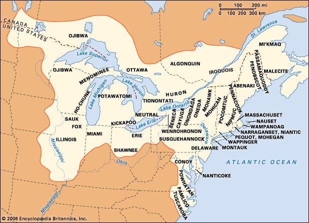 Карта Индейские племена в Северо-восточных лесах США
