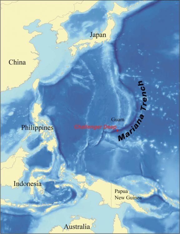 Марианская впадина на карте.